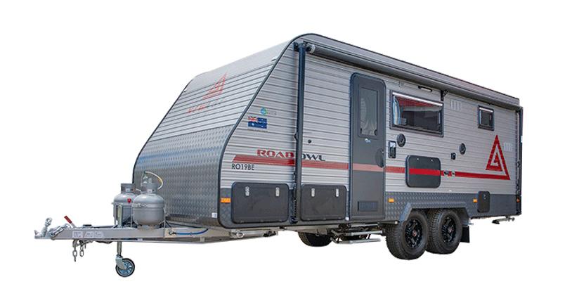 silver hero image of an offroad caravan