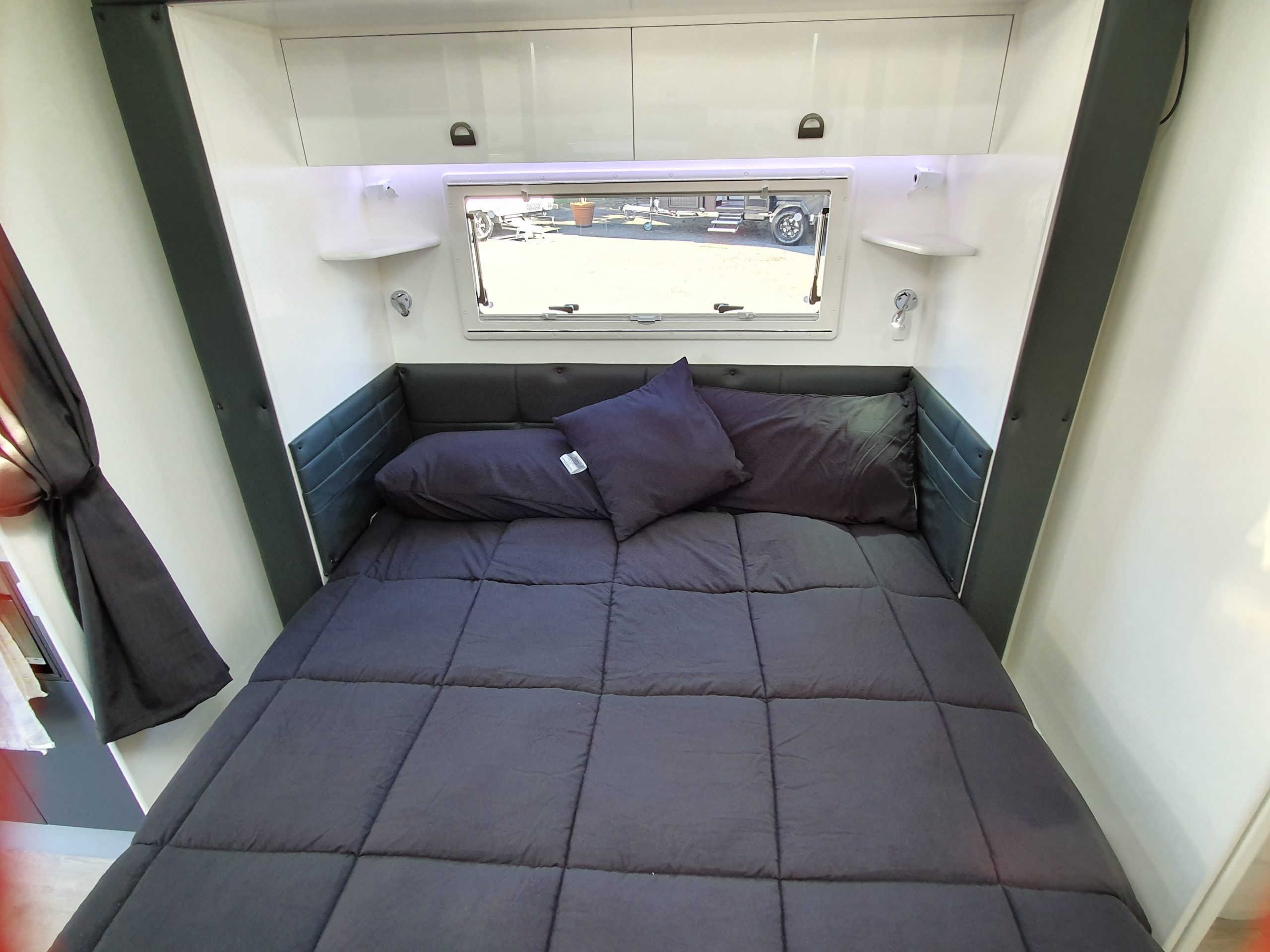 slide out caravan queen double bed