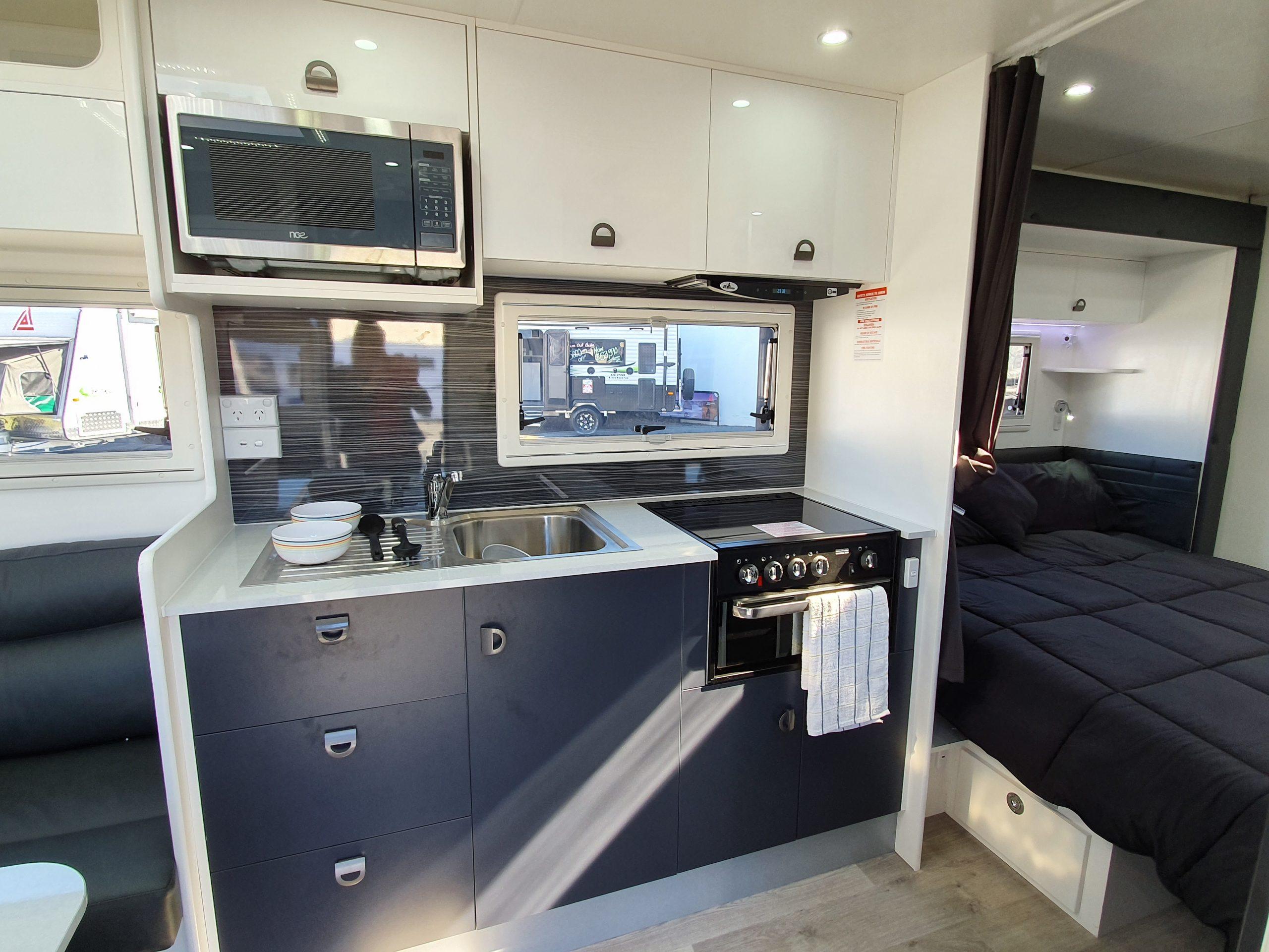 caravan kitchen microwave cooktop