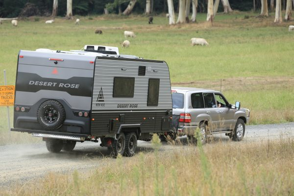 Offroad caravan towed on road