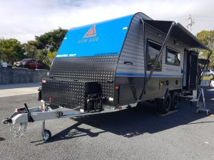 blue offroad caravan external with toolbox