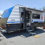 blue front on single axle new age caravan